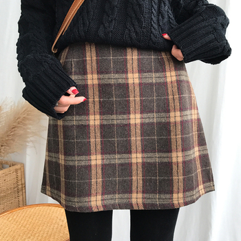 Women's Casual Skirts Japanese Kawaii Ulzzang Vintage Plaid High Waist A-line Skirt Female Korean Harajuku Clothing For Women 1
