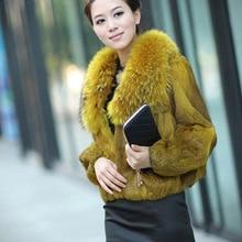 Plus size real rabbit fur coats outerwear women large natural raccoon fur collar fur jackets 2018 winter collection