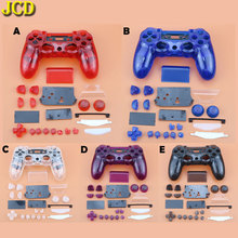 JCD لسوني Dualshock 4 PS4 JDM 001/ 010 / 011 تحكم غمبد واضح الجبهة عودة الإسكان شل غطاء أزرار و طقم عصري