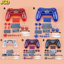JCD mando para Sony Dualshock 4 PS4 JDM 001/ 010/011, carcasa de Carcasa Trasera frontal transparente, Kit de botones