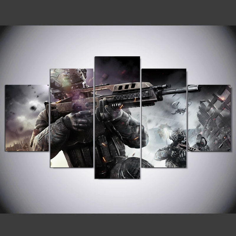 5 panel Modern call of duty black ops hd Art print canvas art wall framed paintings for living room wall picture ny-114