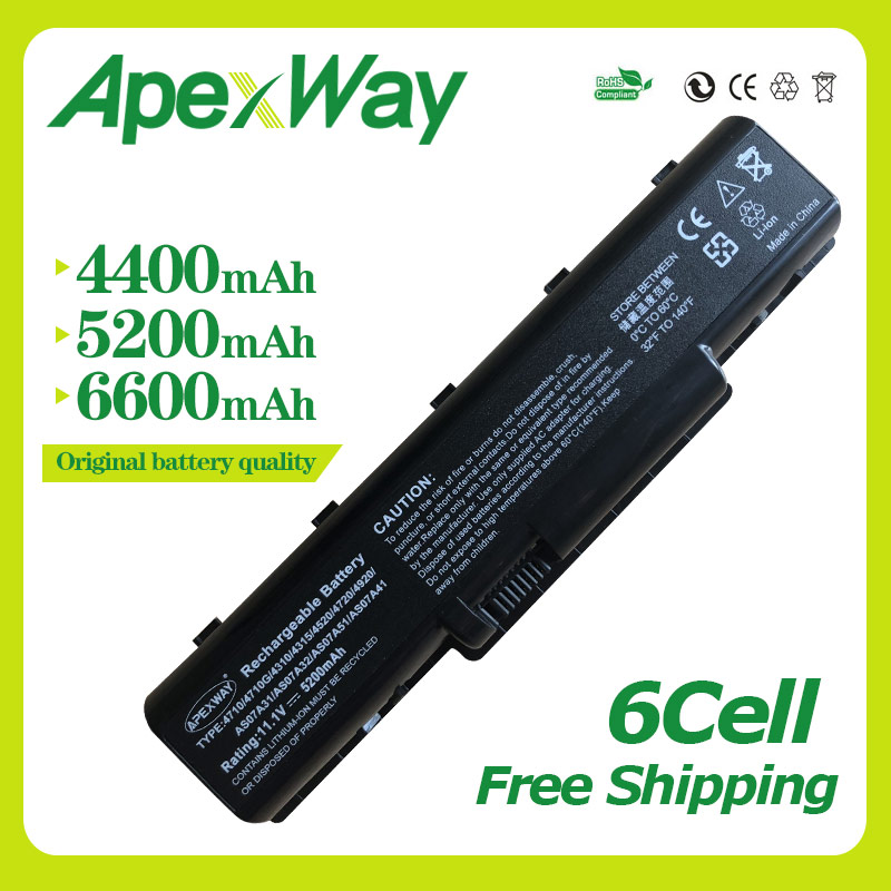 Apexway 11.1V battery for <font><b>Acer</b></font> Aspire 4710 4720 4720G 4730 <font><b>4736</b></font> 4710G 4736G 4740G 4920 4920g 5735 5740 AS07A75 BT.00603.036 image