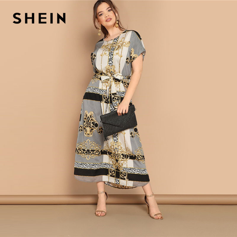fead717ed727 SHEIN Plus Size Mixed Scarf Print Curved Hem Belted Maxi Dress Women Modest  Casual Short Sleeve Straight Summer Dresses