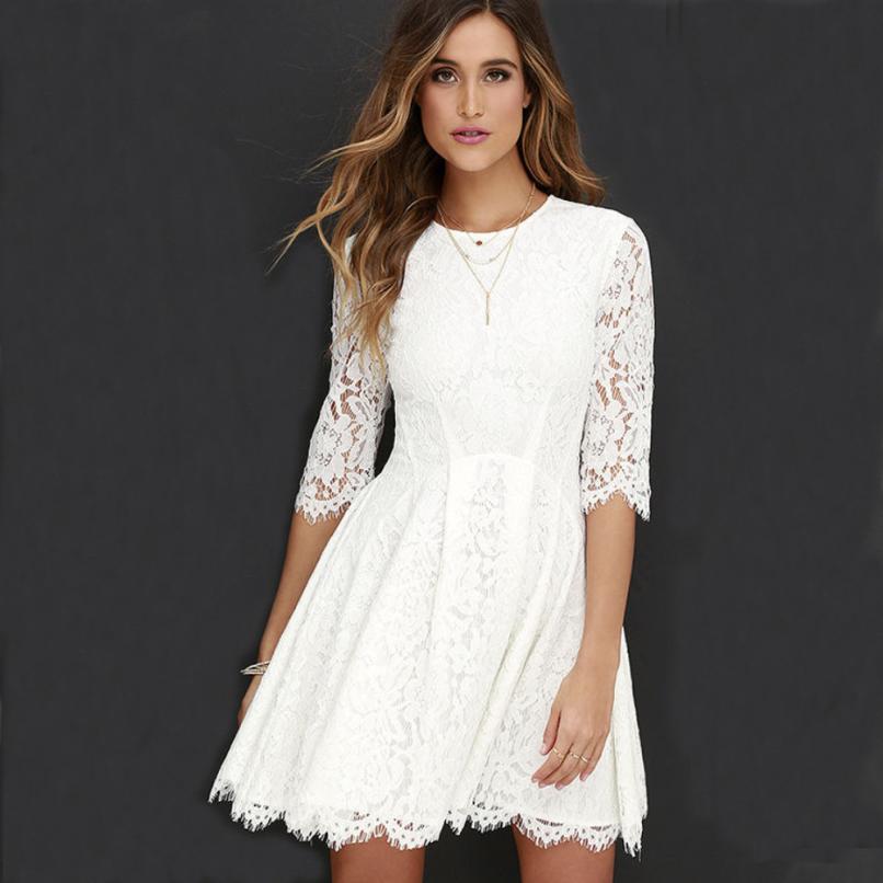 Women Fashion Lace Sexy Beach Dress Charming Women Casual O-Neck Summer White Mini Dress High Quality Holiday Dresses Women