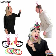 OurWarm Bride to Be Bachelorette Party Adult Games Plastic Dick Head Game Funny Penis Ring Toss Girls Hen Night Decoration