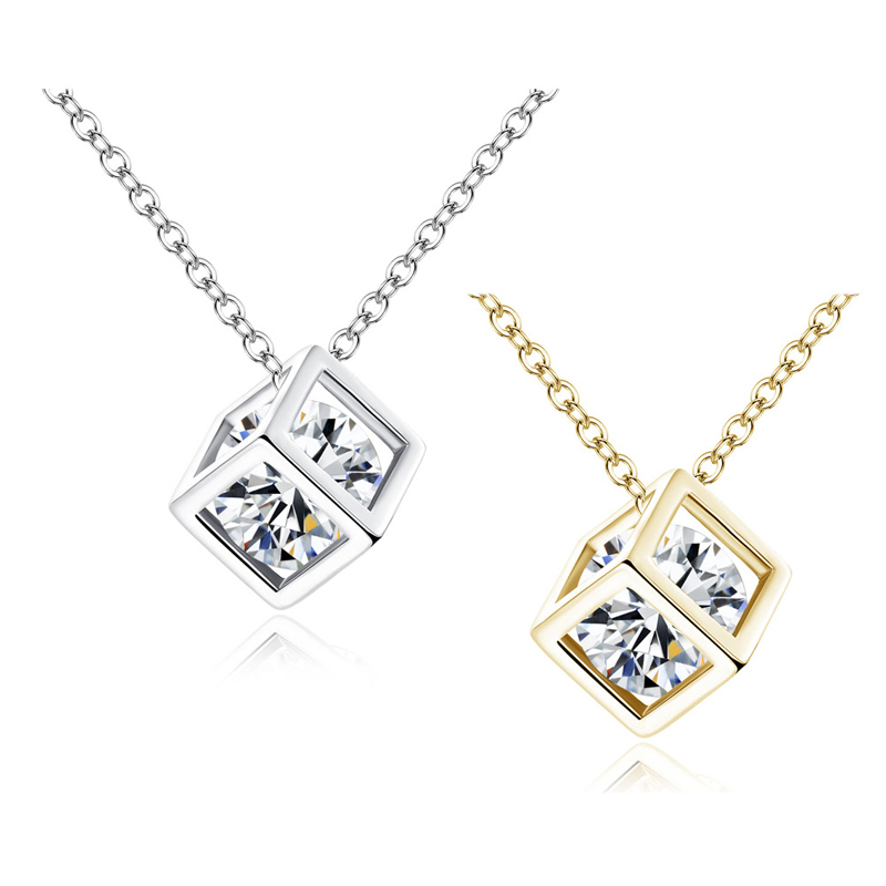 New Arrival Crystal Rhinestone Pendant Necklace For Women Fashion Gold/Silver Color Square Clavicle Necklace Wedding Jewelry