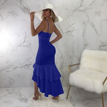 Летнее асимметричное платье с оборками v образным вырезом Сексуальные