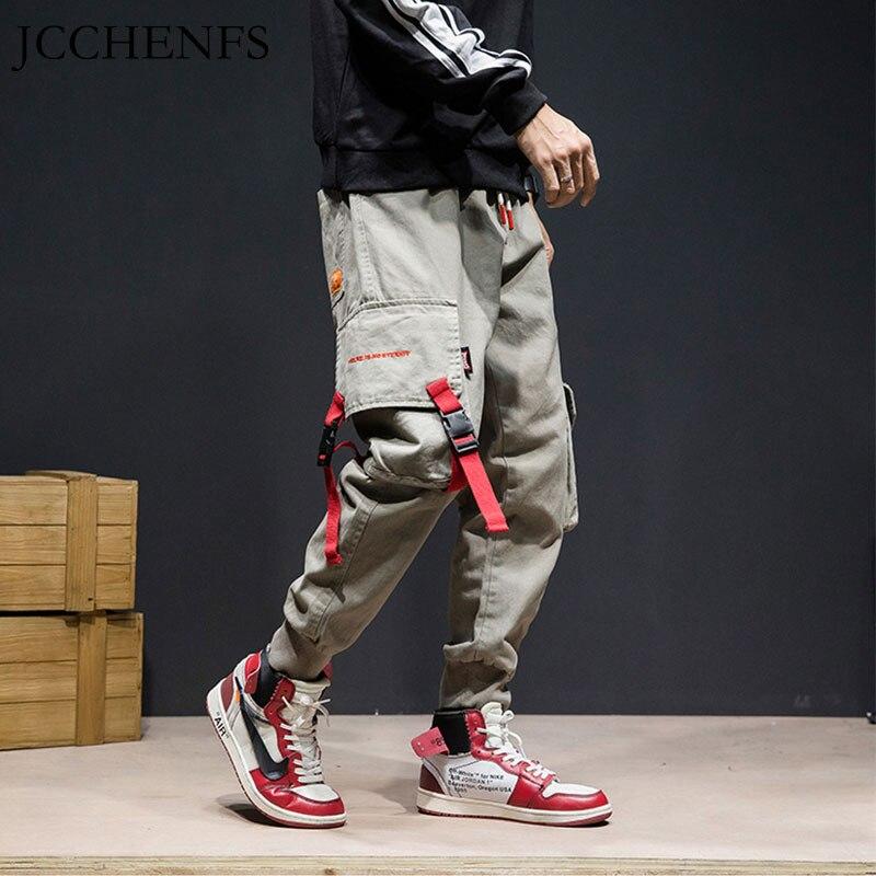 JCCHENFS hombres pantalones de carga Multi bolsillo cintura elástica pantalones casuales Streetwear Punk Hip Hop pantalones Harem Pantalones Hombre Pantalones de baile