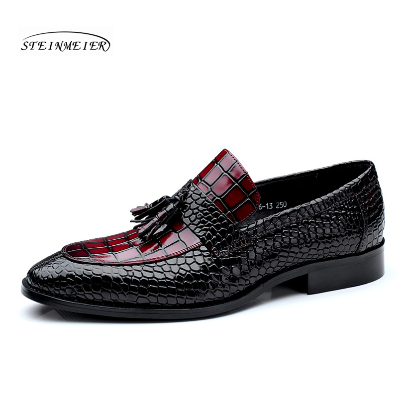 Men genuine leather flat wedding shoes mens wine red black brogue business  casual party gentleman wedding 02d7e886bf5f