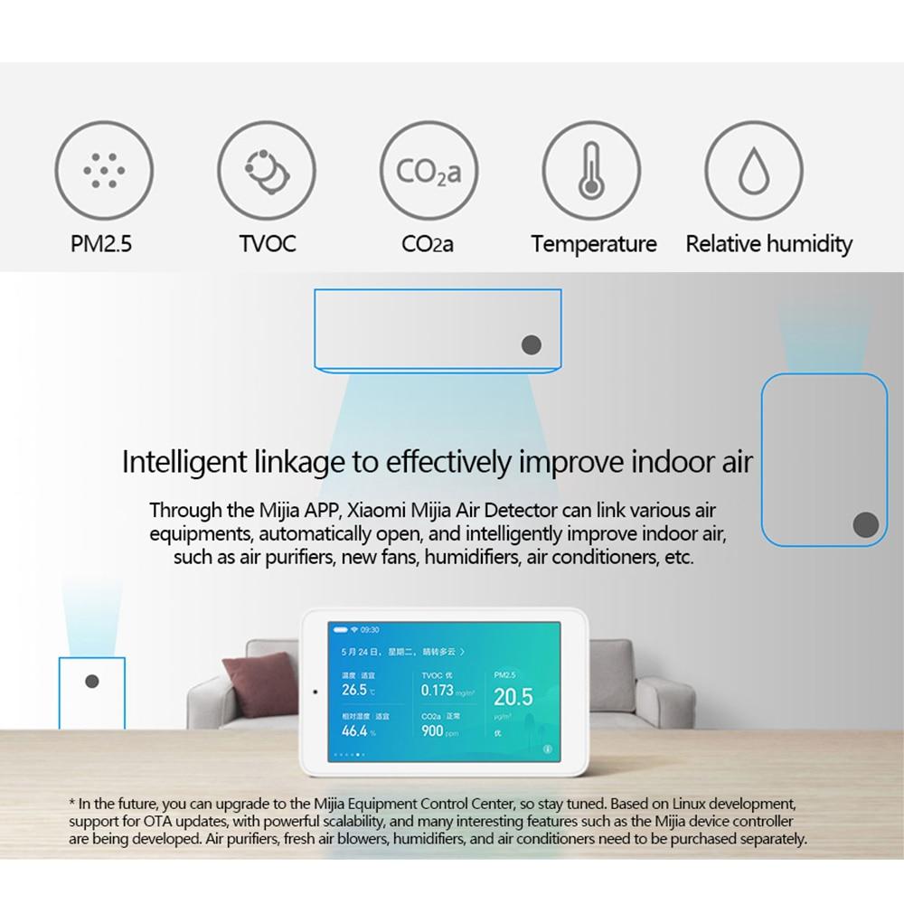 Détecteur d'air d'origine Xiaomi Mijia capteur de haute précision 3.97 'écran tactile Interface USB capteur d'humidité PM2.5 CO2a-in Télécommande connectée from Electronique    3
