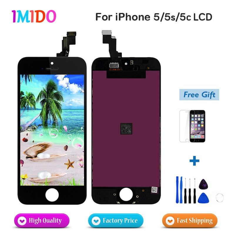 imágenes para Oem de fábrica de calidad aaa lcd pantalla para iphone 5 5s 5C LCD con Pantalla Táctil de Repuesto Asamblea regalo Templado glass + Herramientas