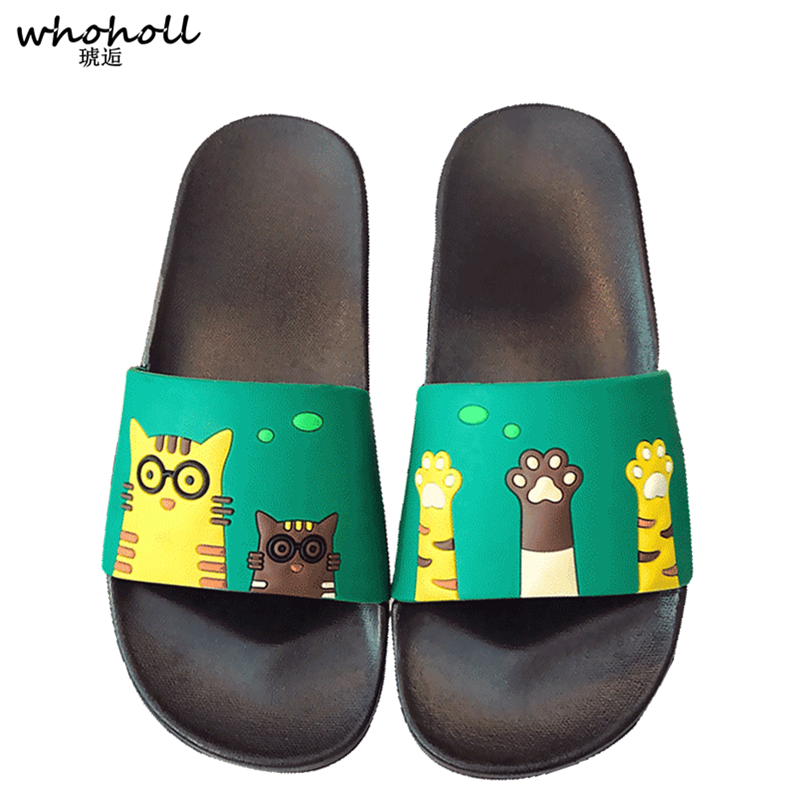 Summer Slippers Man Slides Cartoon Cat Beach Slippers Outside Flat Sandals Shoes Sandalias couples Flip Flops Zapatillas Mujer