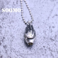 SOQMO Buddha Pendant 100% Real S990 Sterling Silver Jewelry Men Women Praying Hands Necklace & Pendant For Mens Jewelry SQM229