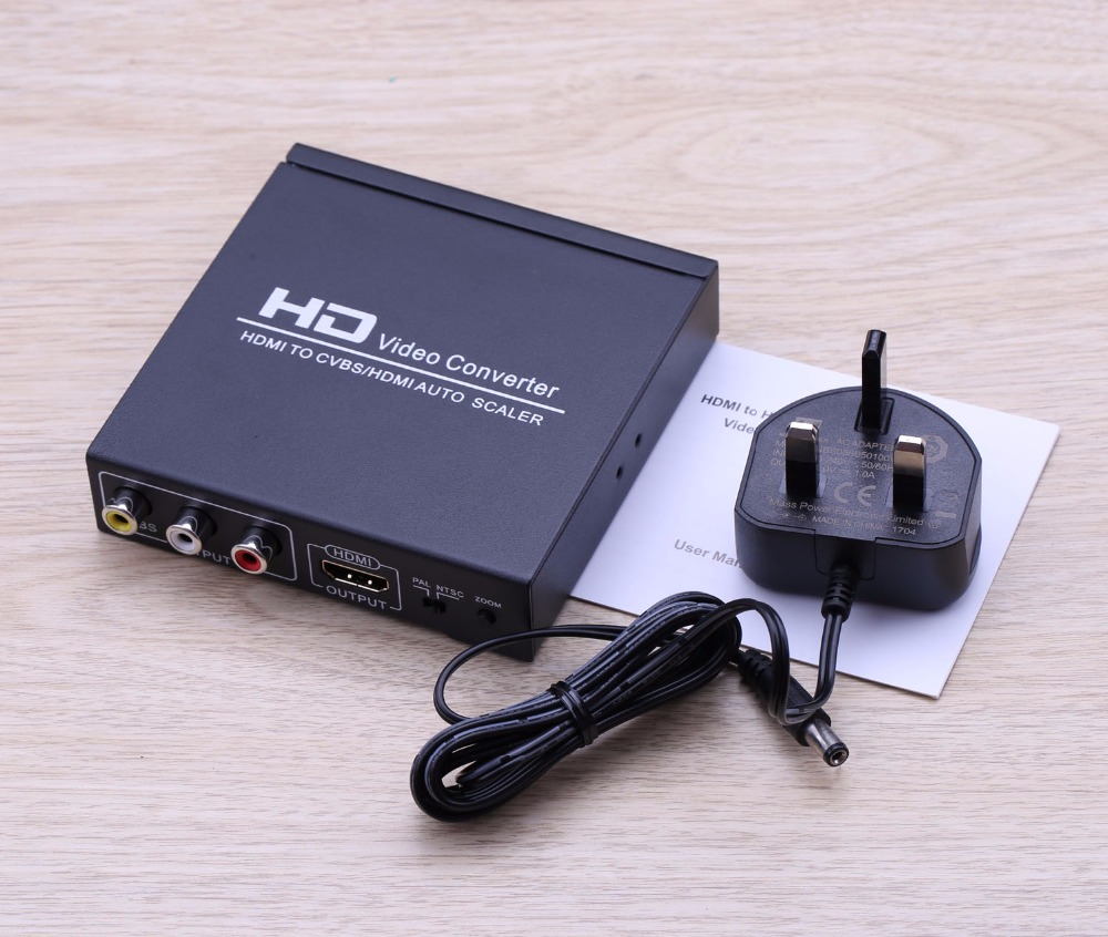 HDMI to HDMI and CVBS Video Converter AV Adapter Support NTSC and PAL Two TV Formats For Xbox 360 PS3 Hd Players set-top box DVD