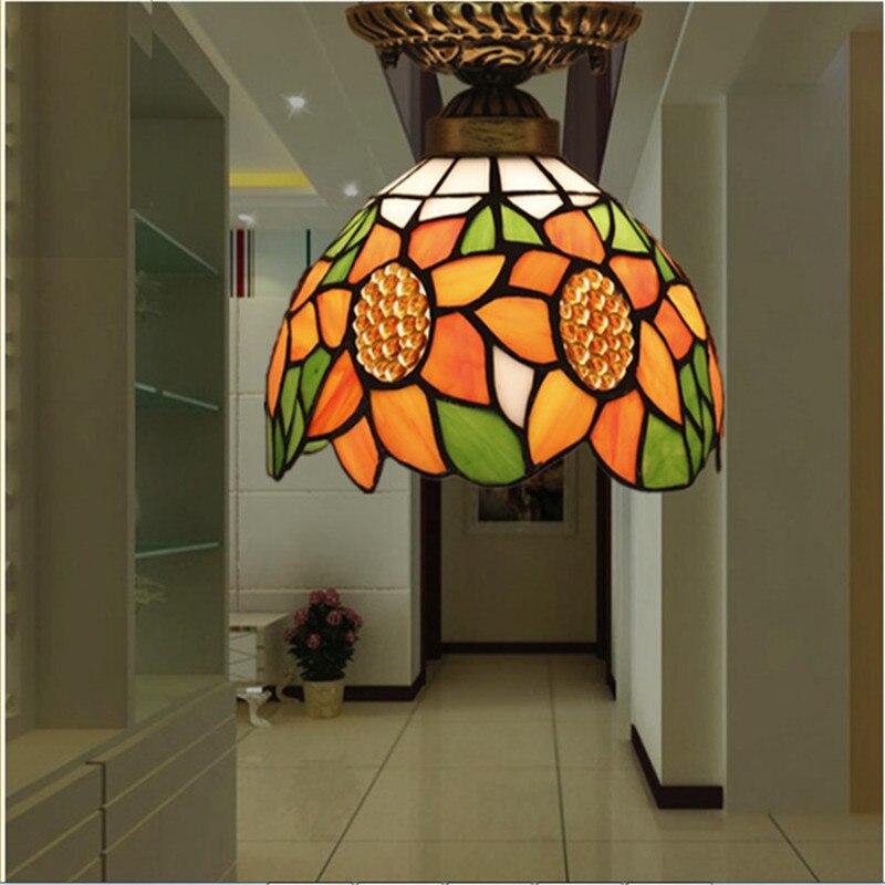 Здесь продается  Tiffany ceiling lamp ,American,European Baroque,Med ,Bohemia surface mounted tiffany light ,20cm sunflower ceil lampTFC-024-20CM  Свет и освещение