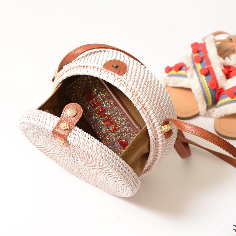 Vintaroco Bohemia Handwoven Bali White Round Rattan Crossbody Bag For Women Straw Beach Shoulder Bags With Pu Leather Straps in Shoulder Bags from Luggage Bags