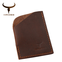 COWATHER 2016 Men Card ID Holders Top Quality Cow Vintage Crazy Horse Newest Design Male Purse