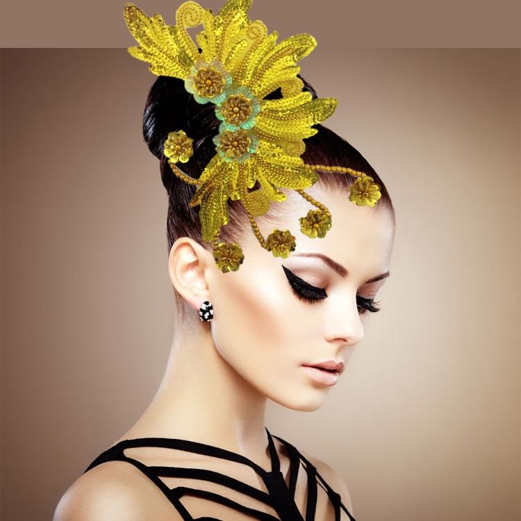 Folk Dance Show Adult Dance Skirt Headdress Flower Female Headpiece Square Dance Flower headpiece