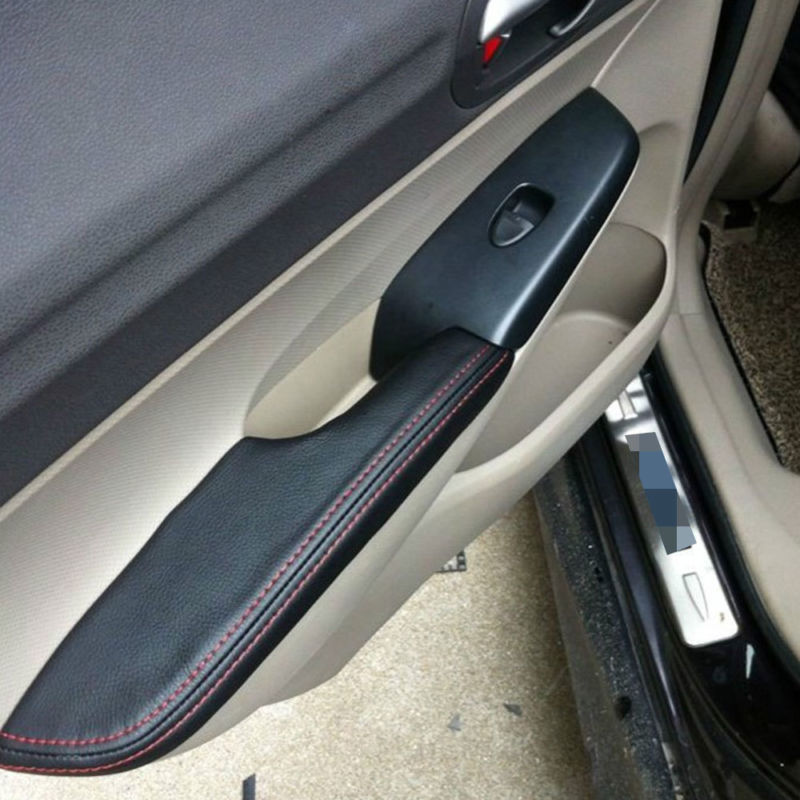 4pcs Fit For Honda Civic 8th 2006-2011 Door Armrest Black PU Leather Surface Shell Trim Cover Decorative Car-styling Accessories