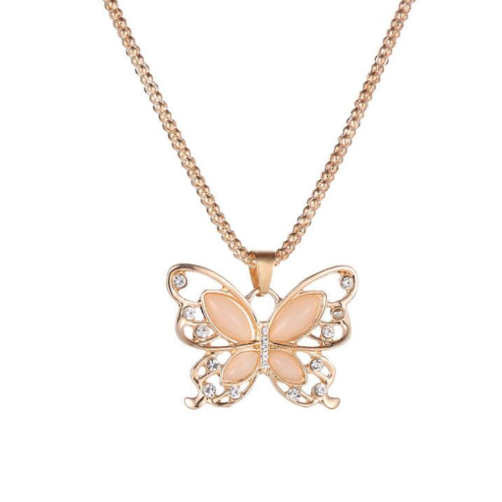 High Quality Fashion Necklace Womens Lady Rose Gold Opal Butterfly Pendant Necklace Sweater Chain Necklace 2019 New year gift Ожерелье