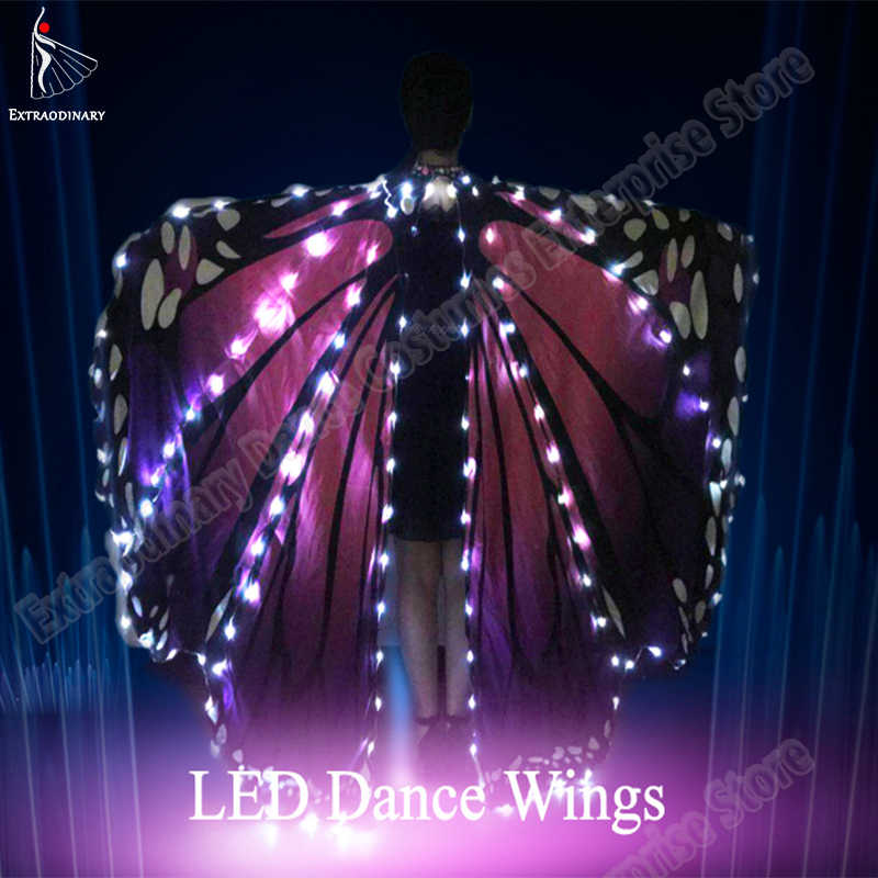 New Women Belly Dance LED Wings Girls Dance Wing Butterfly Halloween LED Butterfly Cloak  Accessories Props Stage