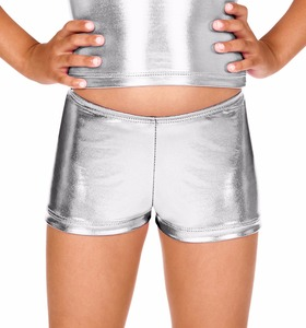 ICOSTUMES Girls Metallic Gymnastics Shorts Metallic Rave Booty Dance SHORTS For  Dance Class Toddler Outfit  METALLIC Jazz Class