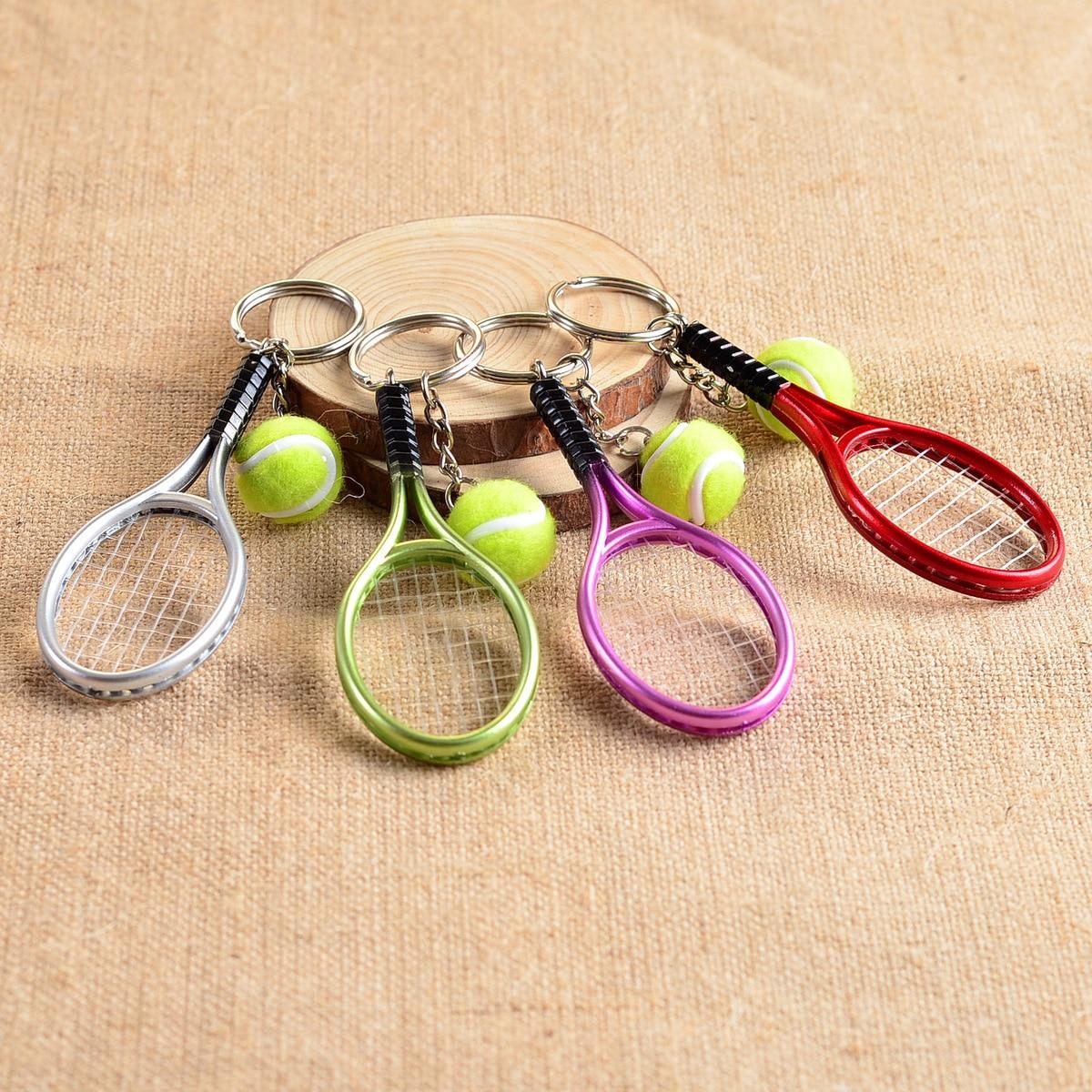 50pcs ZARSIA Mini Tennis Tennis Racket Key Buckle Tennis Balls Keychain Advertisement Promotion Activity Propaganda Gift