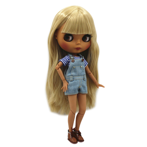 Image 1 - Special Price Blyth Joint body Nude Doll straight blond hair with/without bangs new matte shell dark Skin 30cm Suitable For DIY