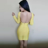 HL Celebrity Yellow Red Long Sleeve Backless Rayon Bandage Dress Celebrity Party Tight Dress
