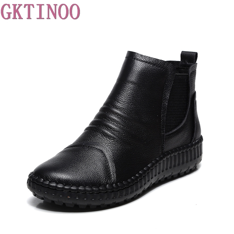 Genuine Leather Shoes Women Boots 2018 Autumn Winter Fashion Handmade Ankle Boots Warm Soft Outdoor Casual Flat Shoes Woman
