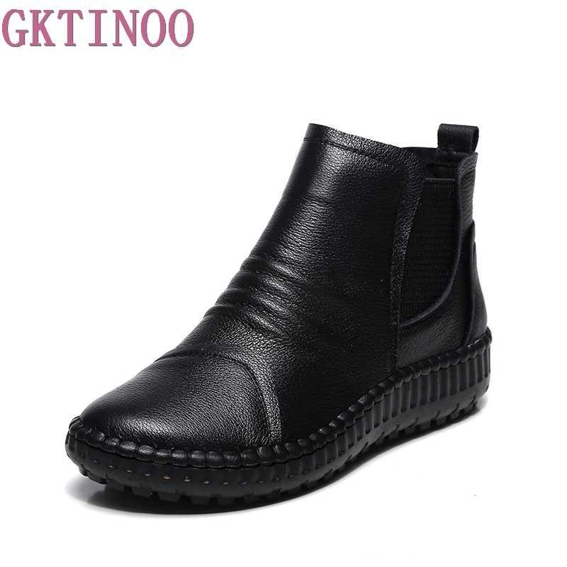 Hakiki deri ayakkabı kadın botları 2020 sonbahar kış moda el yapımı yarım çizmeler sıcak yumuşak açık rahat düz ayakkabı kadın