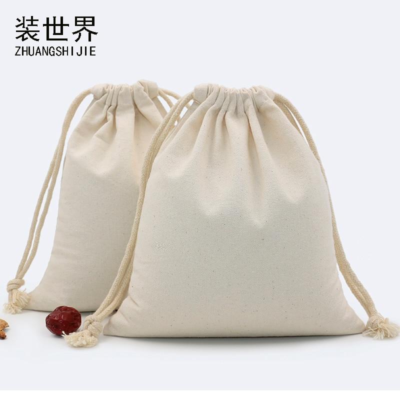 29*39cm multi-purpose 260g Cotton Canvas Drawstring Bag Custom Logo Print Food Candies Packing Christmas Gift travel organizer