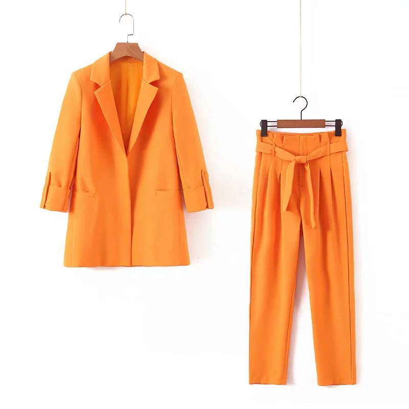 Women's Suits 2019 New Autumn High Quality Wild Casual Orange Long-sleeved Suit Jacket Casual Trousers Set Two-piece