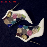 Модные смешанные Цвет Кристалл Летние ботильоны Дамские греческие сандалии на высоком каблуке сапоги свадебные туфли женские Bootie Botas Mujer