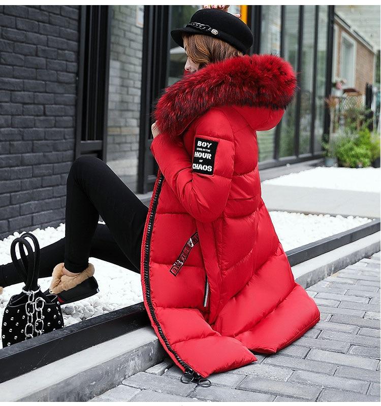 Winter Women's Down Parkas Winter Jacket Big Fur Thick Slim Pike Coat