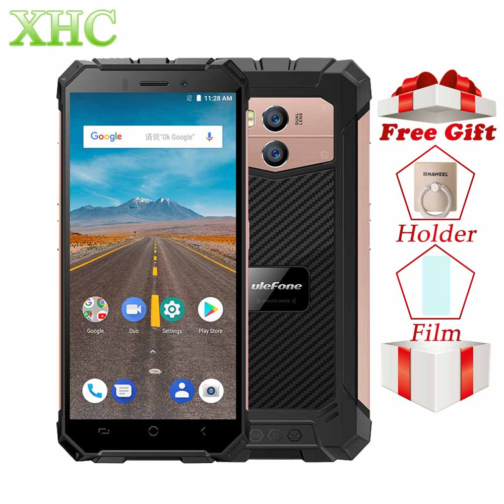Armadura X IP68 Ulefone Smartphones À Prova D' Água 5.5 Quad Core Android 8.1 gb RAM gb ROM 16 2 NFC Rosto ID de Carga Sem Fio Telefones celulares