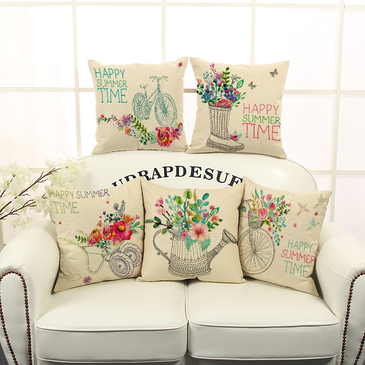 Decorative Clear Flower Basket Bicycle Series Linen Cotton Pillow Cushion Cover  Sofa Bed Home Decoration Car Cushion Cover