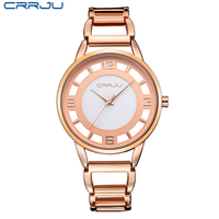 Top Brand CRRJU Women Watches Ultra Thin Stainless Steel Band Analog Display Quartz Wristwatch Luxury Watches