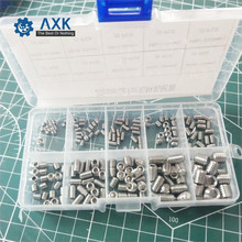 300Pcs/set M3 M4 M5 Mix DIN914 A2-70 Stainless Steel 304 Grub Screws Cone Point Hexagon Hex Socket Set Screws Assortment Kit 50pcs din914 m3 m4 m5 stainless steel 304 grub screws cone point hexagon hex socket set screws