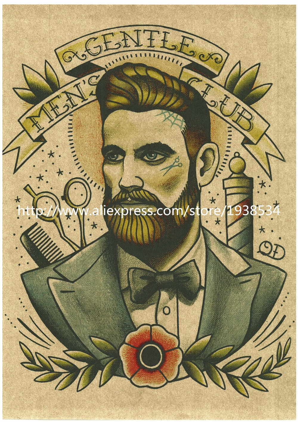 Vintage Tattoos Patterned Posters Kraft paper Interior ...