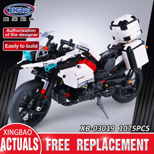 Xingbao 03019 Genuine 1075PCS The Patrol Motorcycle Set Building Blocks Bricks Educational Funny Toys As New Year Gifts For Kids