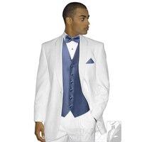 Heißer Verkauf maß hochzeit anzüge 3 stücke weiß Männer anzug Slim fit Smoking Stil revers Bräutigam hochzeit mens anzüge