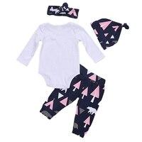 Newborn Baby Girl Clothing Set Letter Print Bodysuit Casual Long Pants Hats Headband Infant Toddler Baby