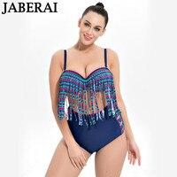 JABERAI 2018 Phụ Nữ Cộng Với Kích Thước Mặc Bikini Đặt Đẩy Lên Đồ Bơi Cổ Điển Tassel Rìa Áo Tắm Cao Eo Tắm Phù Hợp Với Mùa Hè Beachwear