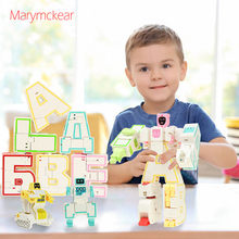 6 pcs/set Russian Deformed Alphabet Robot jigsaw puzzle Toys Children Creativity Educational Action Figure Model Toys Gift(China)