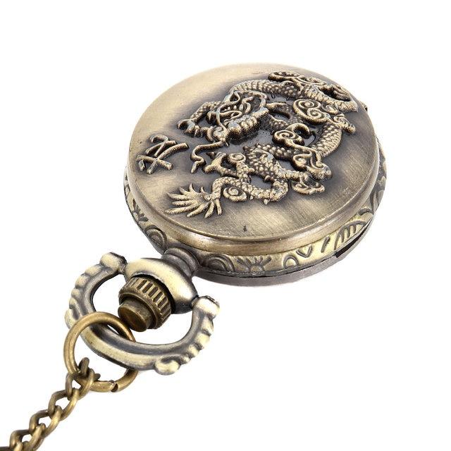Fashion Unisex Vintage Quartz Pocket Watch Alloy Flying Dragon Necklace Pendant