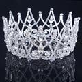 2016 nova luxo real de prata strass cristal coroa de noiva Tiaras de cabelo grande coroa
