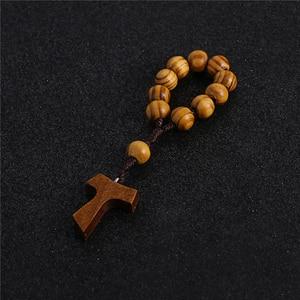 Image 2 - Komi 10mm Wooden Beads Rosary Finger Chain Prayer Bracelet 11pc Beads Bracelets Handmade Religious Jewelry R 070