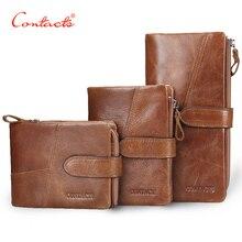 CONTACT'S Luxus Retro Echtes Leder Männer Frauen Geldbörsen Hohe Qualität Marke Design Klappverschluss Brieftasche Frauen Handtaschen Für Karte