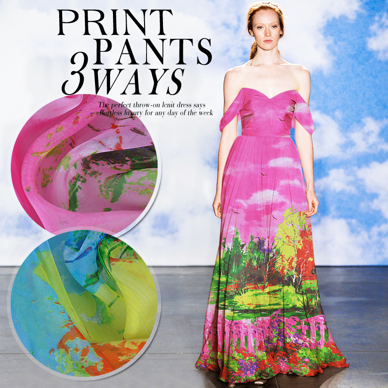 1 meter printed chiffon fabric for sewing 6 momme pure Mulberry silk cloth width 51 inches tissu fabrics wood patchwork DIY 1823 in Fabric from Home Garden